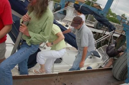 tous ensemble pour faire giter le bateau